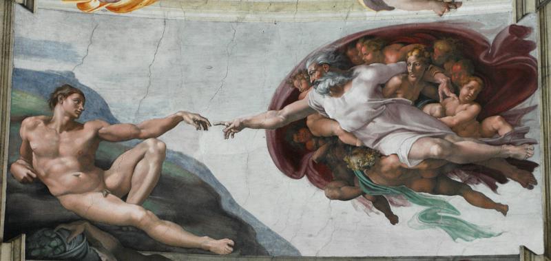 Michelangelo - Crearea lui Adam. Capela Sixtină